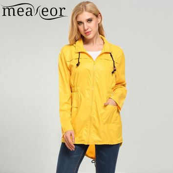 Trendy Meaneor Fashion Dot Print Raincoats Women Waterproof Jackets Fishtail Hooded Autumn Casual Jacket Rain Coat Windbreaker AT_94_13