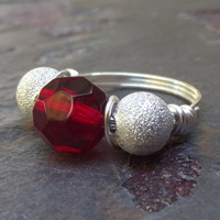Red and Silver Cocktail Ring: Fine Silver Sparkle Wire Wrapped Ring, Christmas Holiday Jewelry, Red Glass Ring, Custom Size