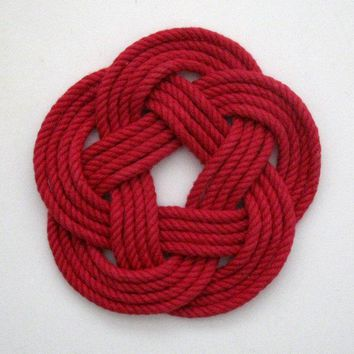 Sailor Knot Coasters, Woven in Classic Red, Set of 4