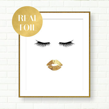 Gold Lips Print, Vanity Decor, REAL GOLD FOIL Art, Black Gold Decor, Glam, Lashes, Eyelashes, Gold Wall, Fashion, Wardrobe, Bathroom Prints