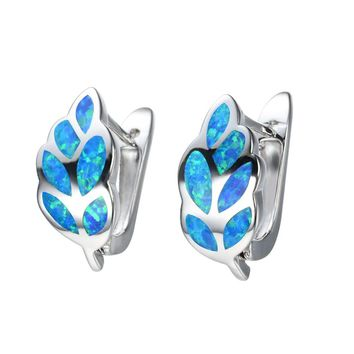 STYLEDOME UFOORO earrings Leaves White Blue Fire Opal Earrings for Women Jewelry Cute Earrings Gift girlfriends