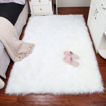 Carpet White Wool Floor Mat Bedroom Living Room Mat [118169567257]