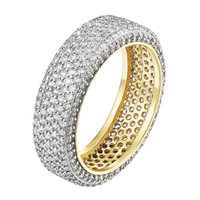 Wedding Eternity Ring 7mm Band Signity CZ 14k Gold Over Sterling Silver Bridal