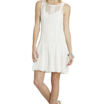 Sheer Drop-Waist Dress in White/Multicolor - BCBGeneration
