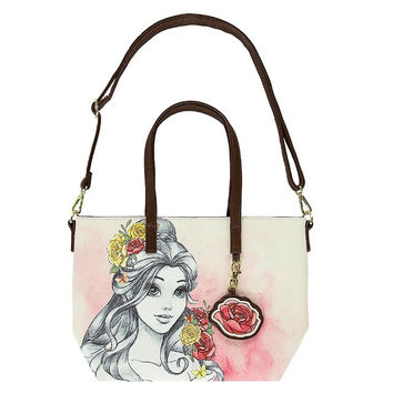 Disney Parks Belle Watercolor Tote Bag by Loungefly New with Tag