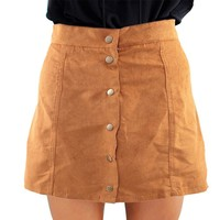 CharMma Autumn Leather Suede A-line Skirts High Waist Button Mini Women skirt Spring Fashion Brown casual Preppy Skirts feminino
