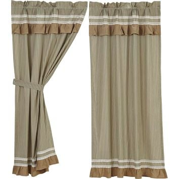 Kendra Stripe Green Short Panel Curtains