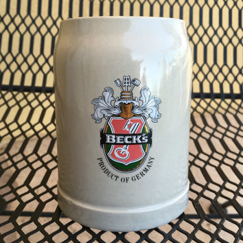 German Beer Stein, Becks Beer Mug, Becks Tankard, German Beer Mug, Beer Tankard, West Germany Mug, Stoneware Tankard, Man Cave Bar Decor