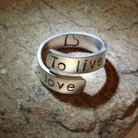 To live To love sterling silver bypass ring