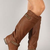 Tosca-01X Pyramid Studded Riding Knee High Boot