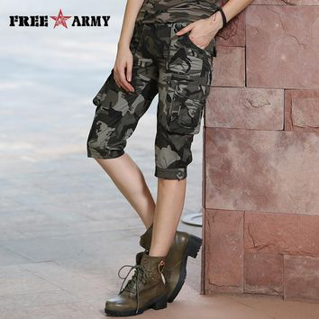 High Quality Fashion Camo Shorts Models Feminino Pantalones Cortos Mujer Summer Women Camouflage Knee-Length Shorts Gk-9388B