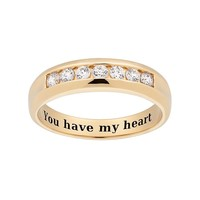 Cubic Zirconia 10k Gold Over Silver Wedding Band - Men (White)
