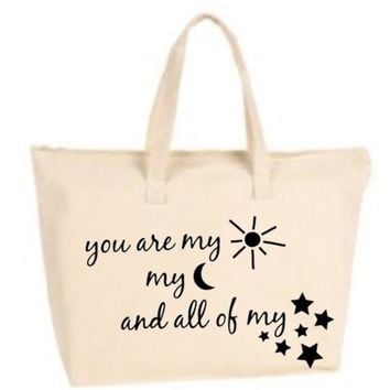 You Are My Sun Moon And Stars Large Tote Bag with zipper closure  - Beach Bag, Purse, Gift Bag