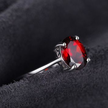 JewelryPalace 1.6ct Genuine Red Garnet Solitaire Rings For Women Oval Cut Solid 925 Sterling Silver Charms Fashion Accessories