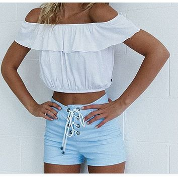 Lace bra vest shorts navel top blouse shirt off shoulder