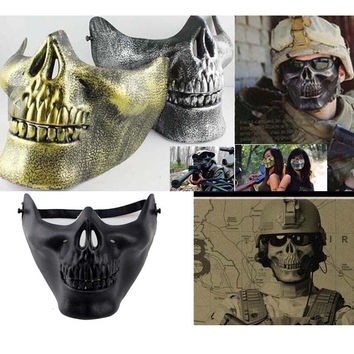 Fun Paintball PVC Airsoft  Masks Scary Skeleton Skull Mask Protective CS Games Halloween Carnival New Year High Quality