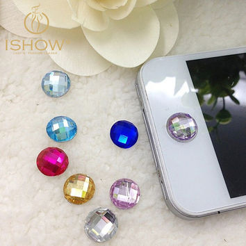 50pcs/lot Multicolor Round Pieces Acrylic Home Button Sticker for Iphone 4s 5 5s 6 Cute Mobile Phone Accessories Phone Stickers