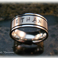Personalized Hand Stamped Silver & Black Ring - Comfort Fit