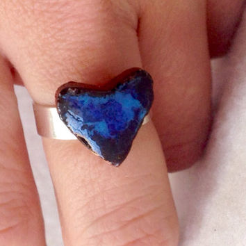 Handmade pottery blue Heart on silver plated ring adjustable Perfect for Valentine's Day large lead and nickel free ring