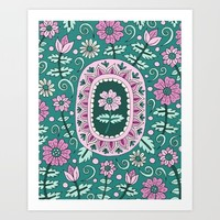 Teal and Pink Garden Art Print by Sarah Oelerich