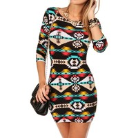 BlackTeal Tribal Dress