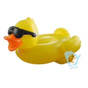 Giant Inflatable Yellow Duck With Glasses Pool Floats Swimming Float Mattress Inflatable Ride-on Toy Boia Piscina