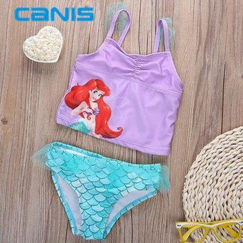 DCCKL6D Mermaid Swimwear Kids Swimming Bikinis Set Two Pieces Baby Girls Bathing Suit Children Purpel Sequined Swimsuit