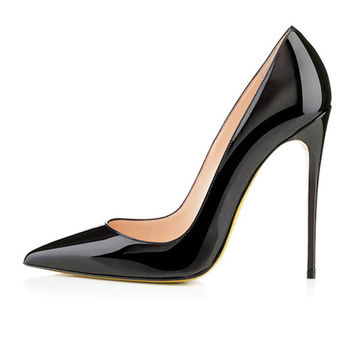 Classy Patent Leather Black  High Heel Pumps w pointed toe