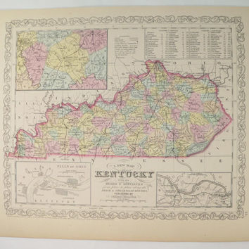 1858 Mitchell DeSilver Kentucky Map, Antique Map of Kentucky, Gift for Parents, 1st Anniversary Gift, KY Map, Vintage Kentucky Decor