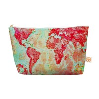 "Kess InHouse Everything Bag Tapered Pouch by  Alison Coxon 12.5 x 7 Inches ""Oh the Places We'll Go"" World Map (AC1047AEP04)"