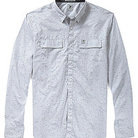 Marck Ecko Cut & Sew Herringbone Long-Sleeve Woven Shirt - White