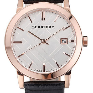 Burberry The City Classic Silver Dial Black Bracelet 622565