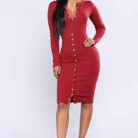 Vintage Jams Dress - Wine