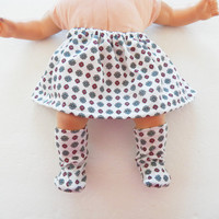 """Bitty Baby Doll Clothes Twin Girl or Baby Doll 15"""" American Girl White Grey Red Blue Flower Floral Print Cotton Knit Skirt & Booties / Socks"""