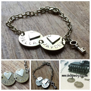Personalized handstamped name bracelet / mothers day / customized jewelry / key and heart bracelets / key jewelry / personalized jewelry