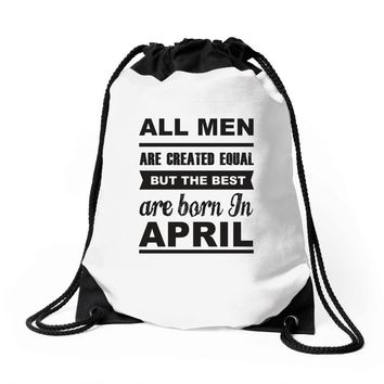 all men are created equal april Drawstring Bags