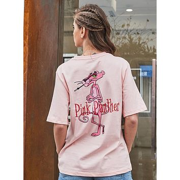 "Hot Sale ""Pink Panther"" Popular Women Casual Print Short Sleeve Cotton T-Shirt Top Pink I12662-1"
