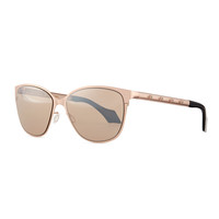 Cat-Eye Sunglasses with Crystal Studs, Rose Gold - Mila ZB
