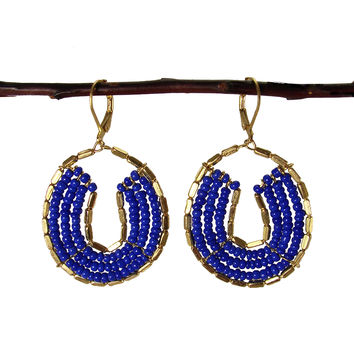 Byzantine Beaded Earrings - Cobalt Blue