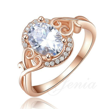 Jenia Rose Gold Color Big Oval-cut 5ct Egg Shaped Cubic Zirconia Finger Ring 2 Colos Available R156