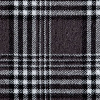 "Flannel Shirting Fabric 41""-Grey Black White 