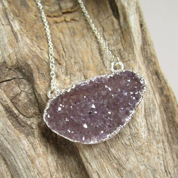 Agate Druzy Necklace Sideways Drusy Quartz Sterling Silver