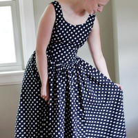 Vintage Laura Ashley polka dot full swing dress, 80's does 50's, size 10