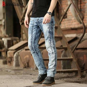 Bierelinnt Washed White Patch Cotton Denim Mens Jeans,Ripped Hole Washed Straight Slim Fit Jeans Mens,570271