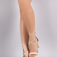 Lace Up Gold Accent Stiletto Heel
