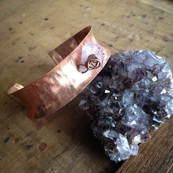 Copper Cuff with Amethyst Point