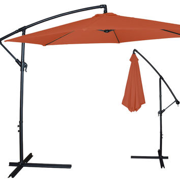 New Clevr 10ft Offset Umbrella Outdoor Patio Cantilever Canopy Terracotta Orange