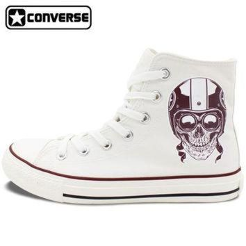 CREYUG7 Men Women's New Converse All Star Shoes Skull on the Motorbike High Top White Canvas S