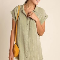 Olive Dye Washed Button Up Tunic