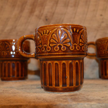 Brown Glazed Stackable Mugs Made in Japan, Set of Four Vintage Brown Mugs, Vintage Brown Coffee Cups, Stackable Mugs, Retro Mugs,